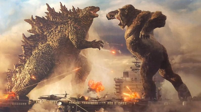 """""""Godzilla vs. Kong"""" monster poster showing the water battle in the century"""