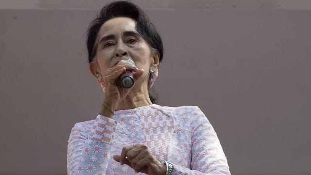 The leader of the ousted Myanmar government, Aung San Suu Kyi.