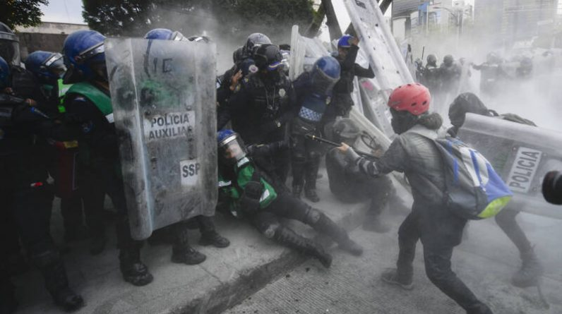 He was injured in protests marking International Women's Day in Mexico
