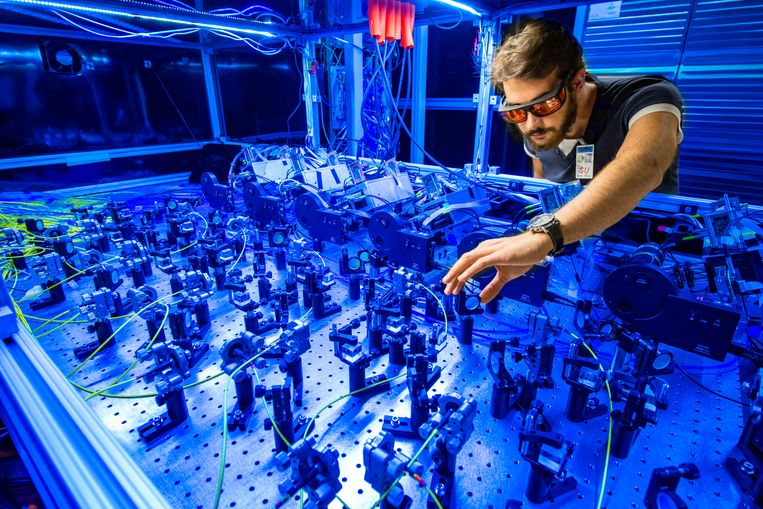 A scientist is working on the so-called Muon g-2 experiment.  Fermilab image