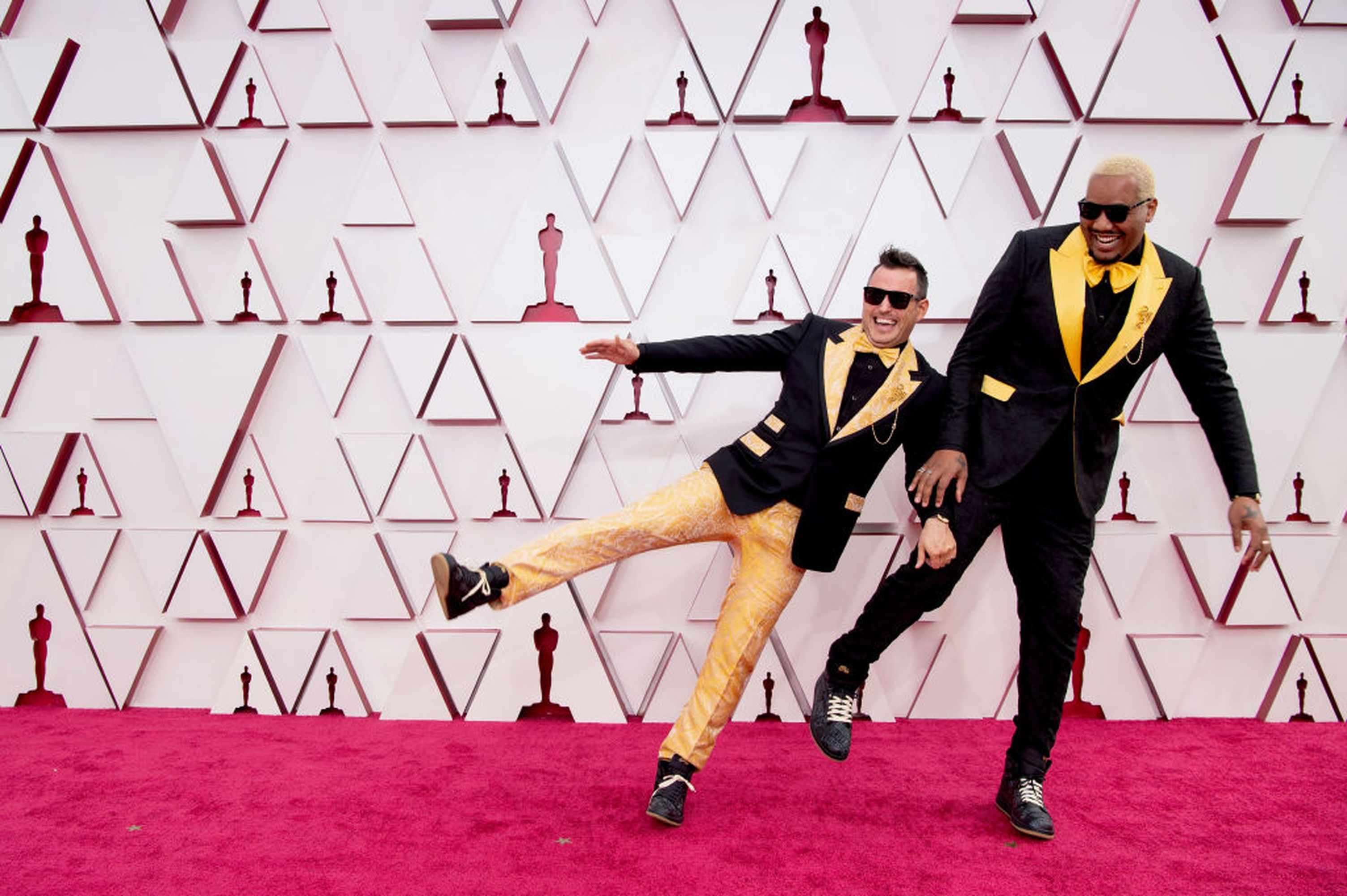LOS ANGELES, CA - APRIL 25: (For editorial use only) In this posted photo provided by AMPAS, (LR) Desmond Rowe and Travon Free attend the 93rd Annual Academy Awards at Union Station on April 25, 2021 in Los Angeles, California.  (Photo by Matt Beatty / AMPAS via Getty Images)