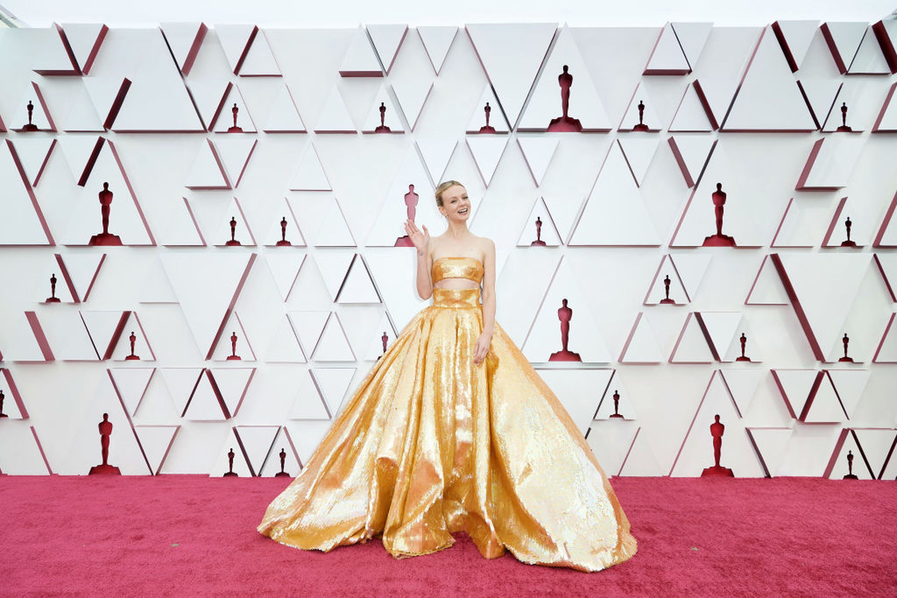 LOS ANGELES, CA - APRIL 25: (For editorial use only) In this posted photo provided by AMPAS, Carey Mulligan attends the 93rd Annual Academy Awards at Union Station on April 25, 2021 in Los Angeles, California.  (Photo by Matt Beatty / AMPAS via Getty Images)