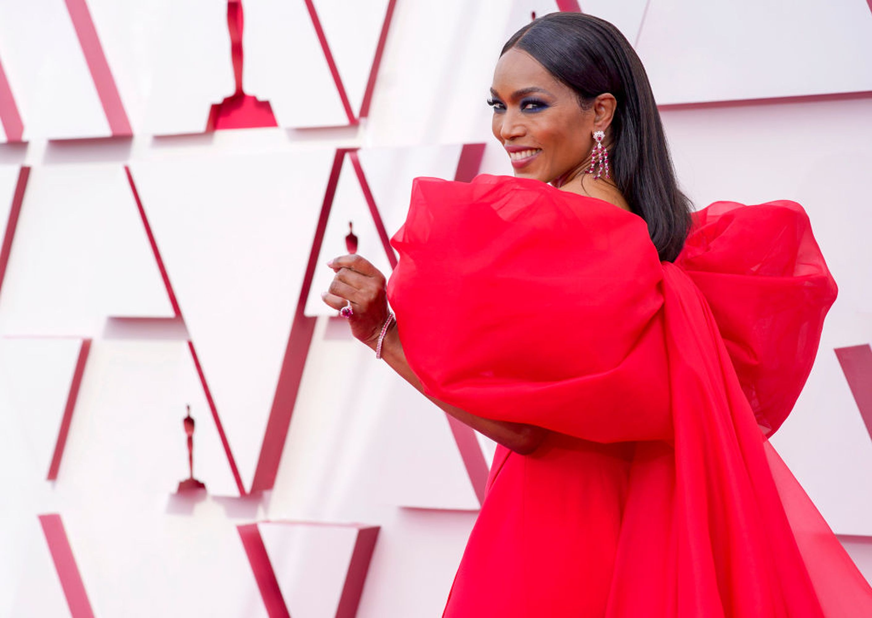 LOS ANGELES, CA - April 25: Angela Bassett attends the 93rd Annual Academy Awards at Union Station on April 25, 2021 in Los Angeles, California.  (Photo by Chris Bisillo-Ball / Getty Images)