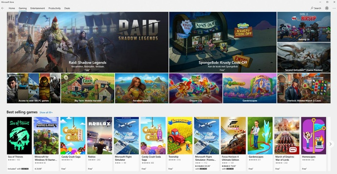 Games in the Microsoft Store