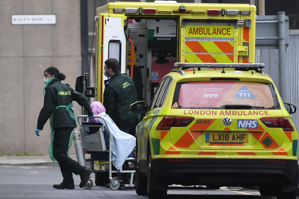 Patients wait in British ambulances until nine in the morning to enter