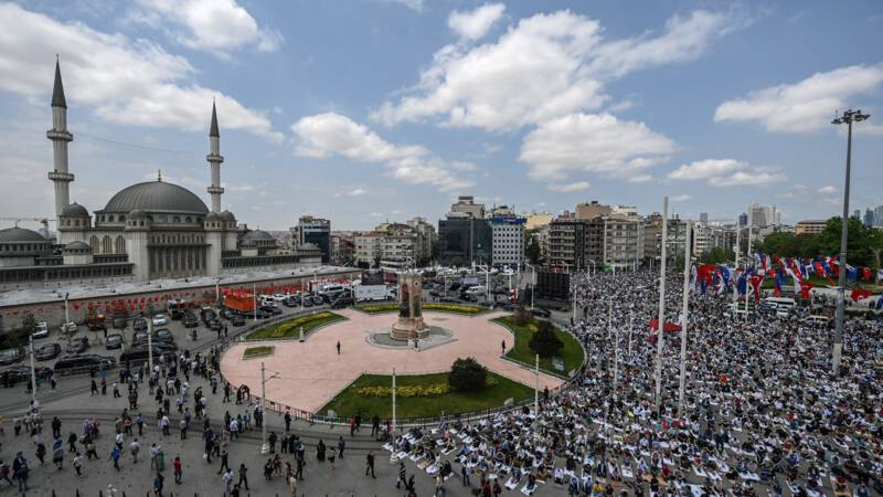Erdogan opens a controversial mosque in Taksim Square, a less happy secular Turkey