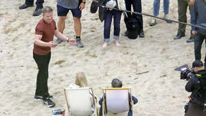Gordon on set at Lusty Glaze Beach.