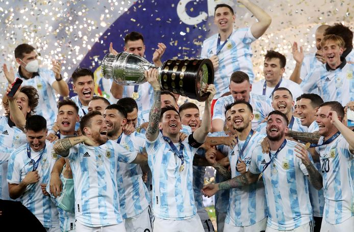 Lionel Messi with Copa America among his teammates after winning 1-0 in the final against Brazil.