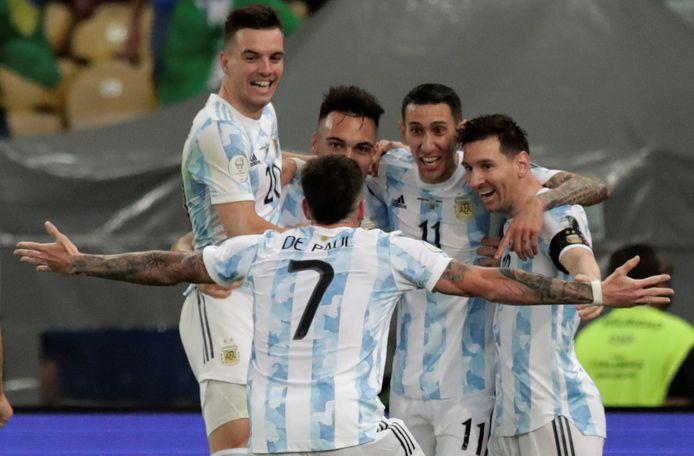 Argentina celebrate in the Maracana after Angel Di Maria's goal.