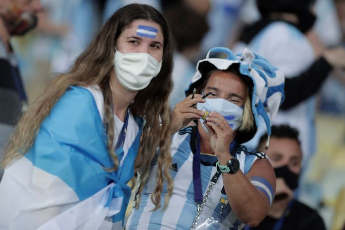 Argentine fans in the stands, and for the first time during the tournament, the audience was allowed.