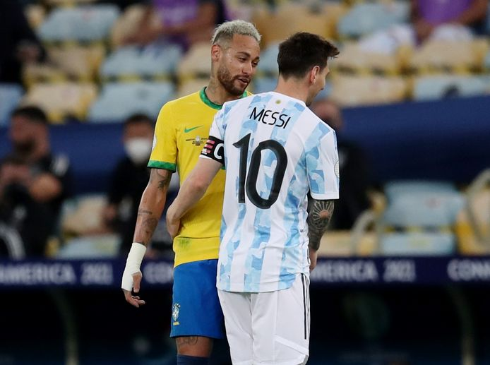 For a moment, the friendship between Neymar (left) and Lionel Messi had to be put aside.  Argentine win