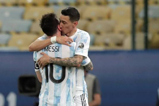 Messi and Di Maria celebrate their 1-0 lead against Brazil.