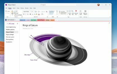 A sample of what an updated OneNote app could look like according to Microsoft