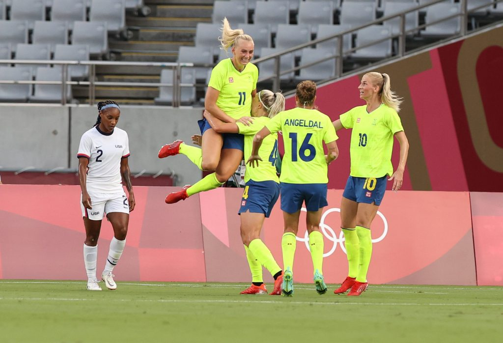    Sweden defeated the United States in the first group match of the Olympics
