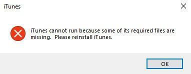 iTunes Windows Error Message