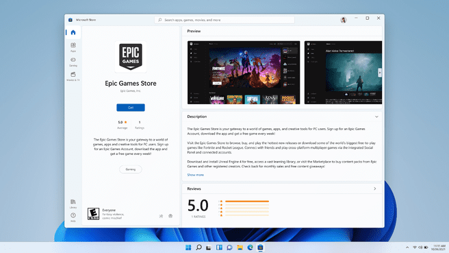 The Epic Games Store in the Microsoft Store