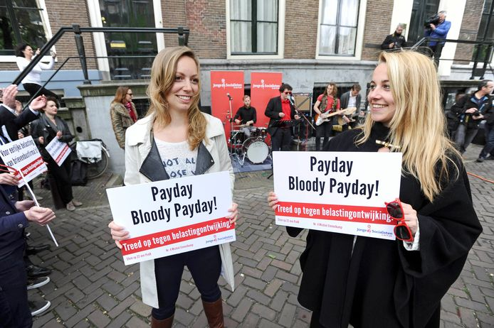 Protest in front of email companies U2 and The Rolling Stones in Amsterdam.