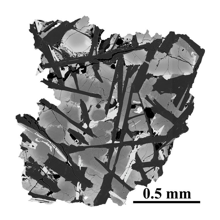 Electron micrograph of a slice of basalt taken from the moon.  CAGS . image