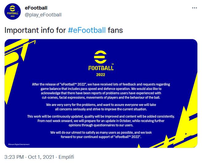 Excuse eFootball Konami